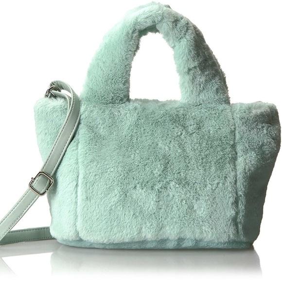T-Shirt & Jeans Handbags - Soft Plush Fluffy Tote Crossbody Bag Mint